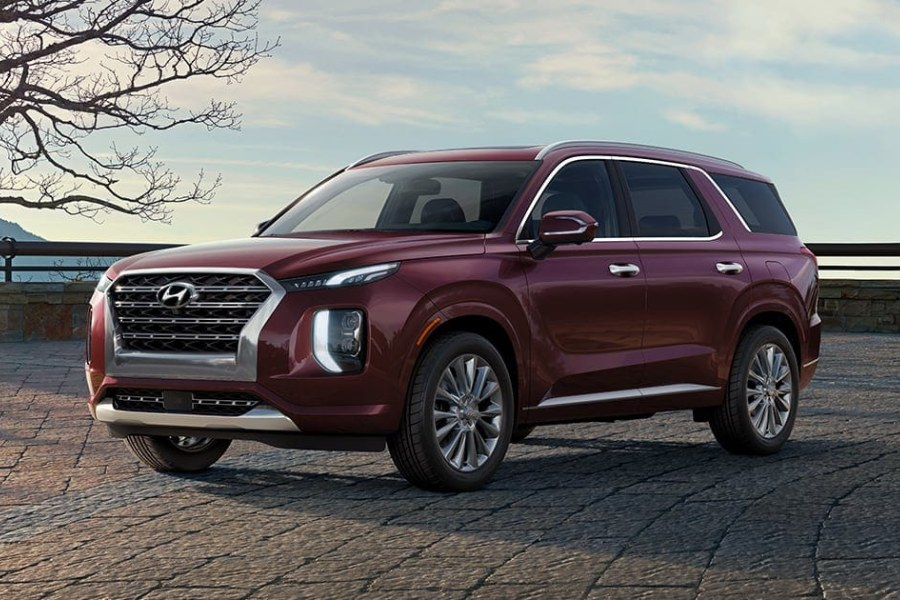 Sierra Burgundy 2020 Hyundai Palisade on a Brick Road