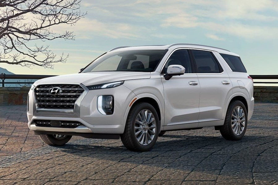 Hyper White 2020 Hyundai Palisade on a Brick Road