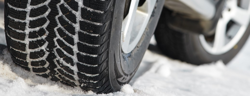 Close up of tires on a snow surface