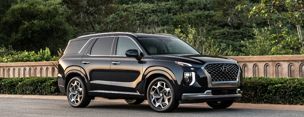 2021 Hyundai Palisade on gravel road in front of stone wall and trees