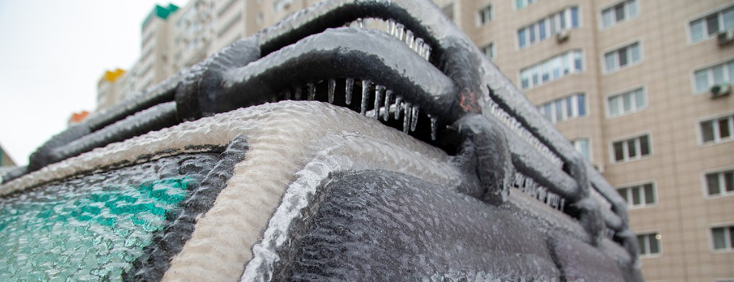 car covered in ice