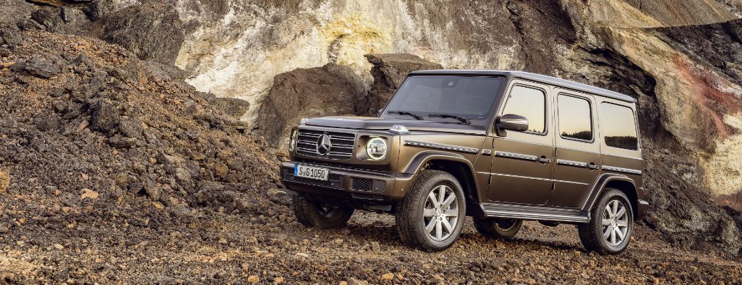 2019 Mercedes-Benz G-Class SUV parked on a rocky hill