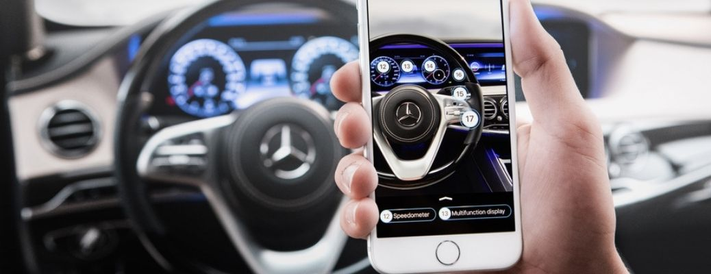 Mercedes-Benz augmented reality technology shown on a phone