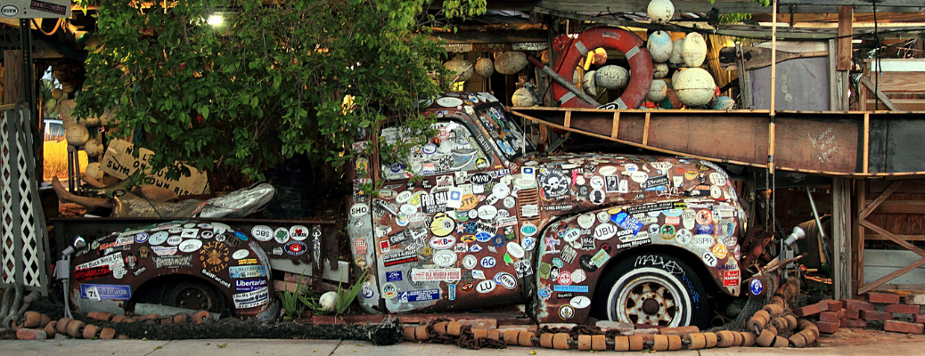 Old truck covered in stickers