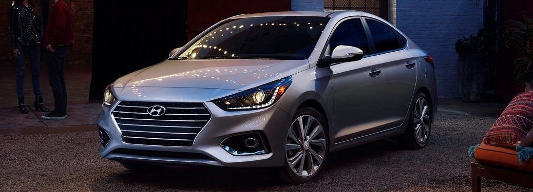 Front driver angle of a silver 2021 Hyundai Accent