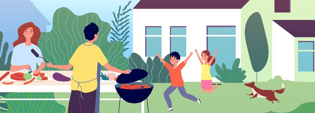 Illustration of a happy family grilling out