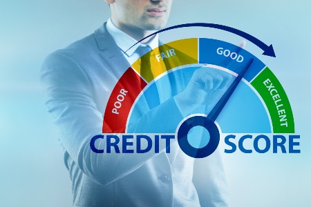 Graphic of a man adjusting his credit score