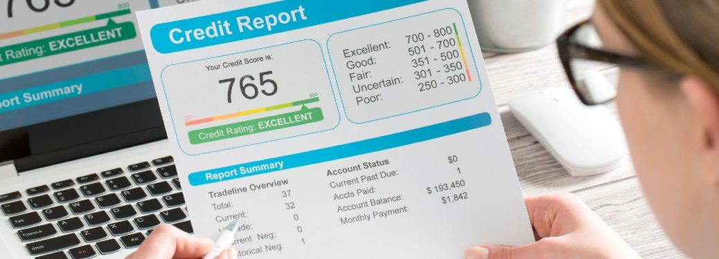 Woman checking her credit score