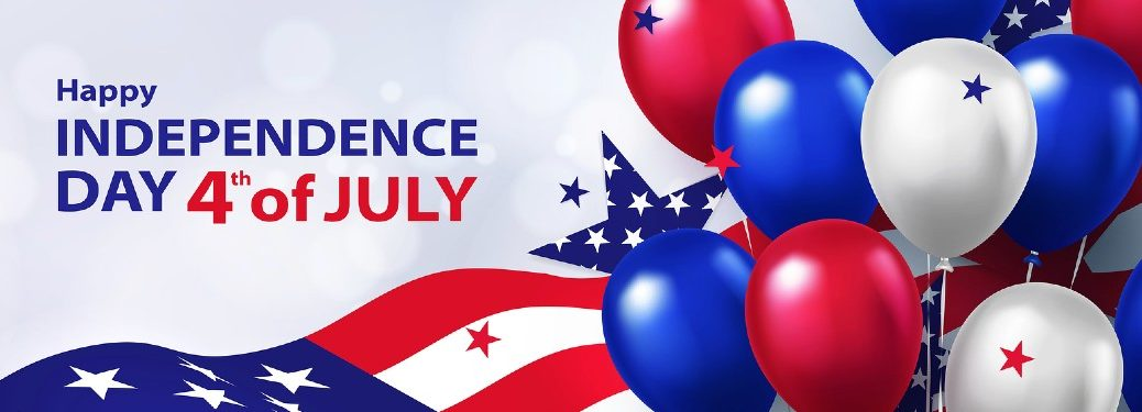 "Banner with the American flag and red, white, and blue balloons with the text ""Happy Independence Day 4th of July"""