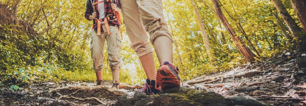 Couple hiking on a trail in a forest