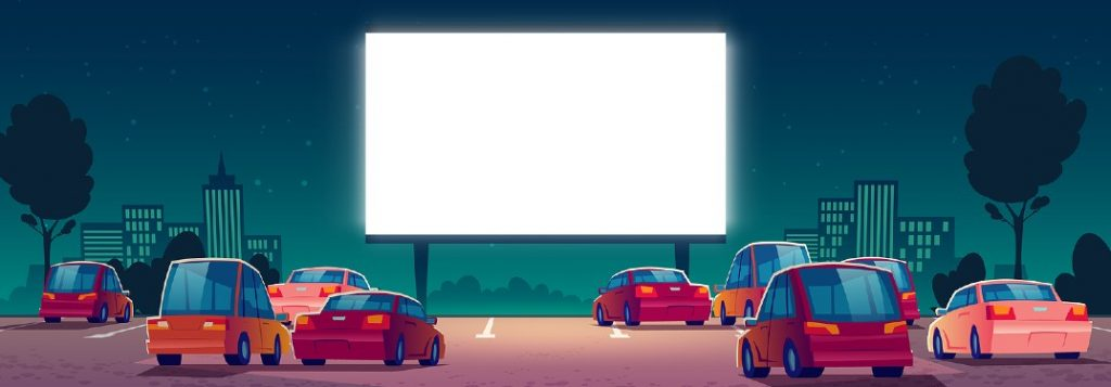 Graphic of cars at drive-in movie theater