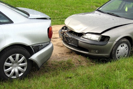 Car accident of a front-end collision