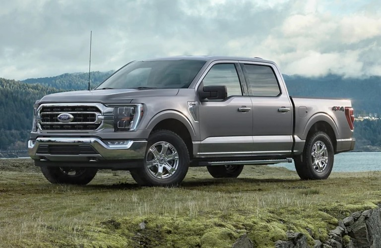 Front driver angle of a grey 2021 Ford F-150