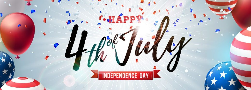 """Festive banner with the text """"Happy 4th of July"""""""