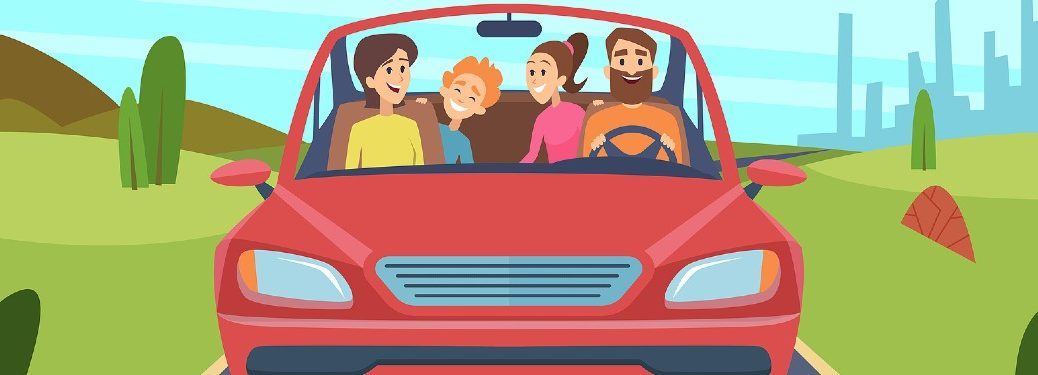Graphic of a red car with a family inside
