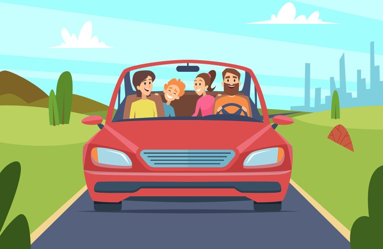 Graphic of a family driving in a red car