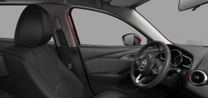 Image of the black leather interior of a 2019 Mazda CX-3