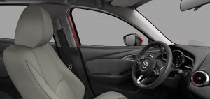 Image of the black/parchment leather interior of a 2019 Mazda CX-3