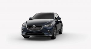 Exterior view of a Deep Crystal Blue Mica 2019 Mazda CX-3