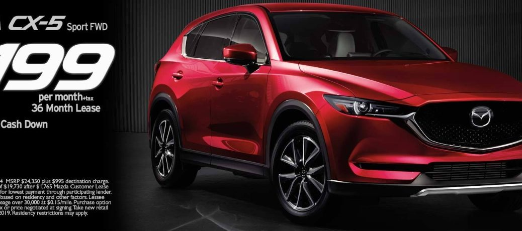 Banner highlighting the 2019 Mazda CX-5 lease deal at Bob Baker Mazda