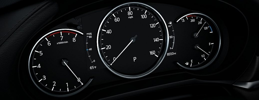 Closeup view of the dashboard inside a Kia vehicle