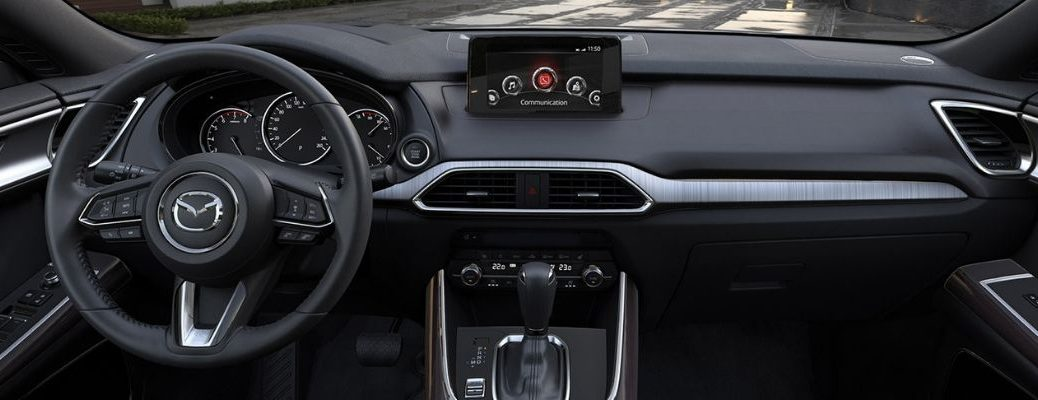 Interior view of a Mazda vehicle showing the touchscreen display