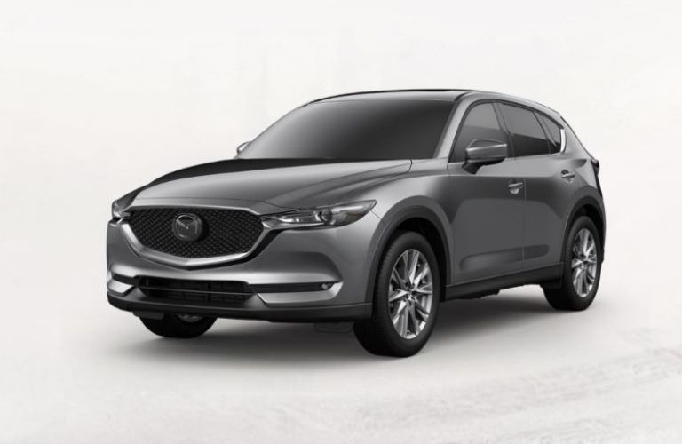 Exterior view of a gray 2019 Mazda CX-5 Grand Touring