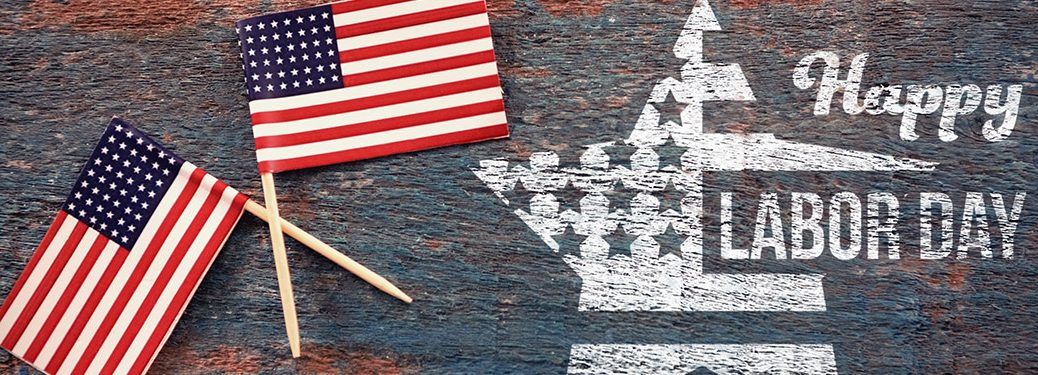 Happy Labor Day banner with two small American Flags