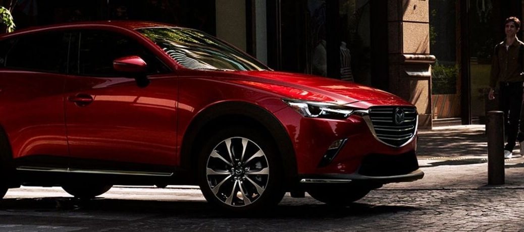Exterior view of a red 2019 Mazda CX-3