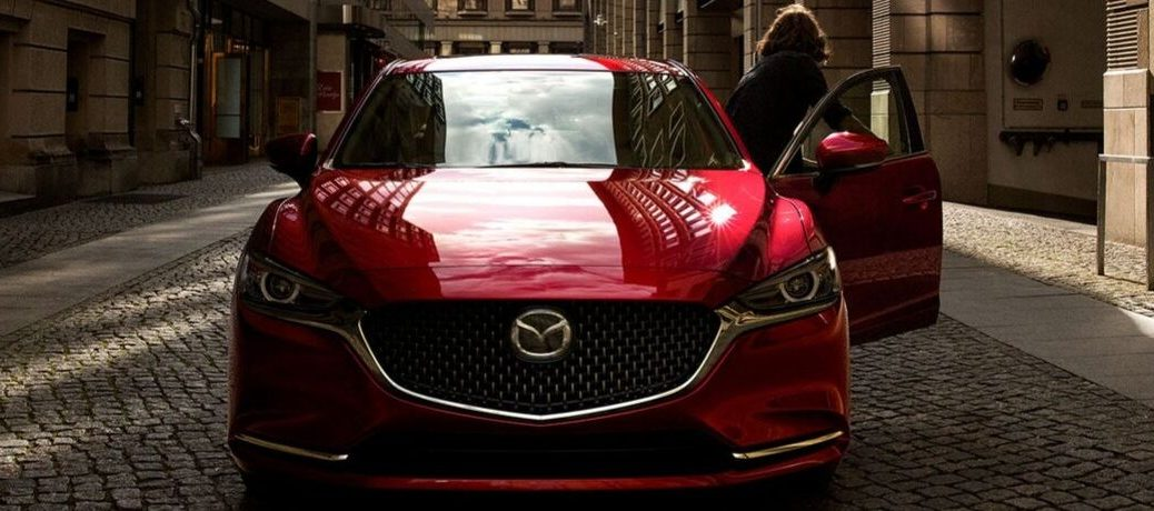 Exterior view of the front of a red 2019 Mazda6