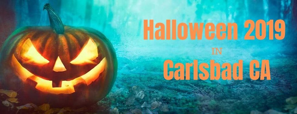 Halloween 2019 in Carlsbad CA banner with a scary Jack-o-Lantern in the dark woods