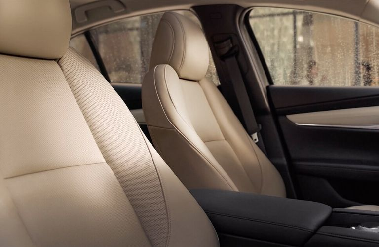 Interior view of the beige seating inside a 2020 Mazda3 Sedan