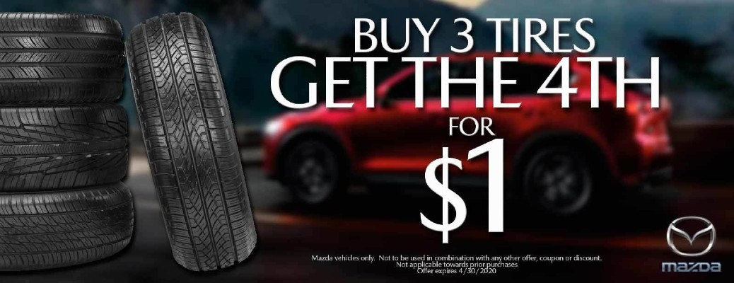 "A banner image of a tire special that says ""Buy 3 Tires Get the 4th Tire for $1."""