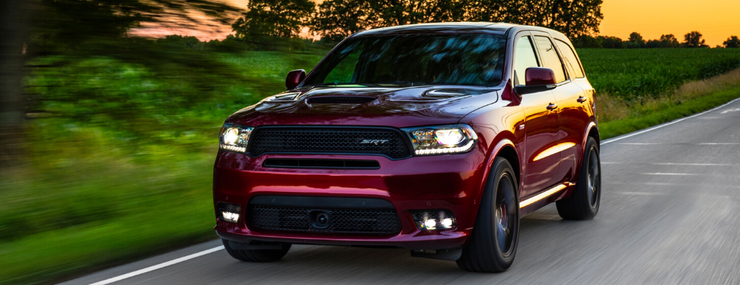 Front view of red 2020 Dodge Durango SRT on the road