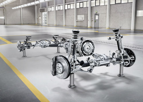 computer graphic or 2019 Mercedes-Benz G-Class chassis, brakes and suspension in a warehouse