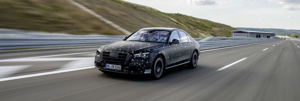 2021 Mercedes-Benz S-Class in Camouflage Exterior Driver Side Front Angle