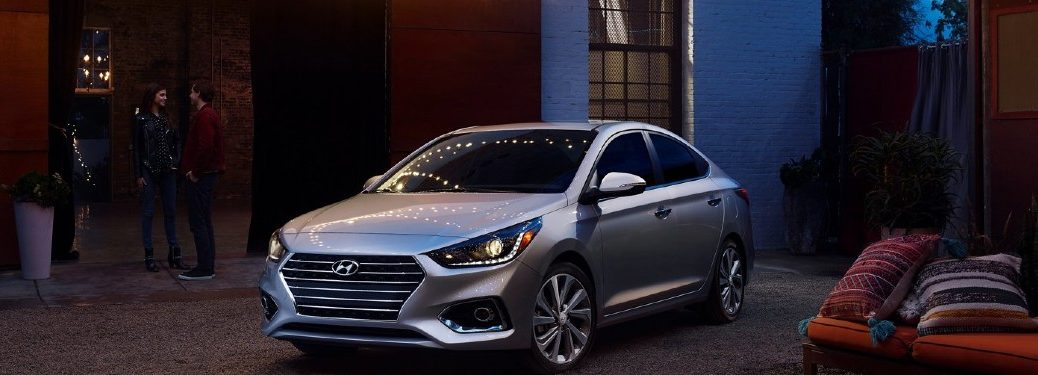 2021 Hyundai Accent silver exterior front fascia parked in backyard