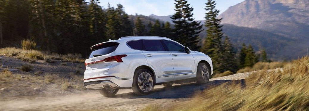 2021 Hyundai Santa Fe white exterior passenger side driving in dirt road in forest mountain area