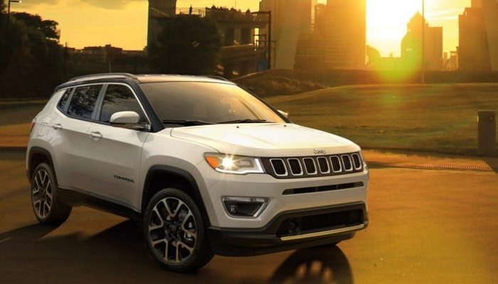 2020 Jeep Compass parked on a city pathway