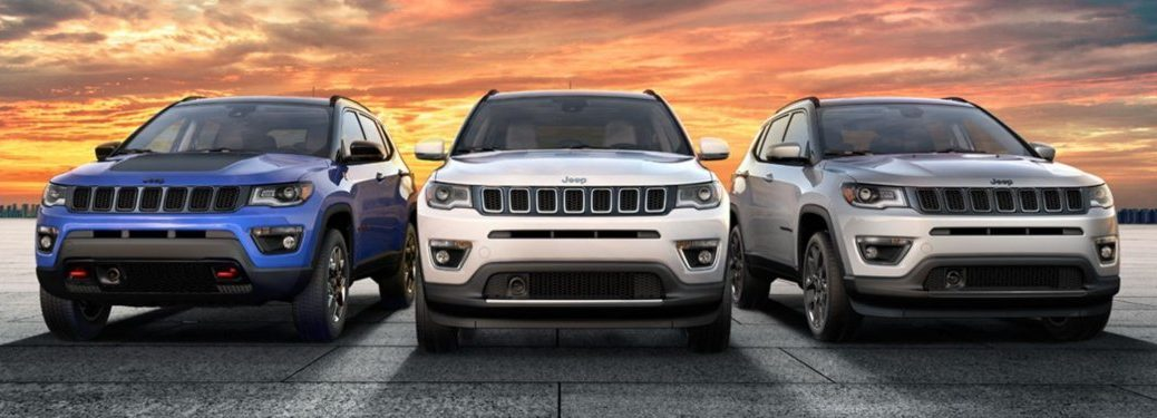 Three 2020 Jeep Compass models parked in a lot