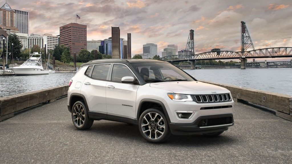 2020 Jeep Compass parked on a pier
