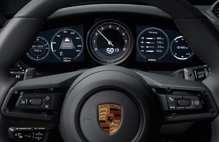 view from the steering wheel of the 2020 Porsche 911