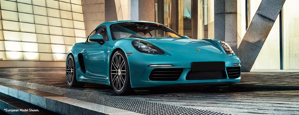 front view of 2020 Porsche 718 Cayman in Miami Blue