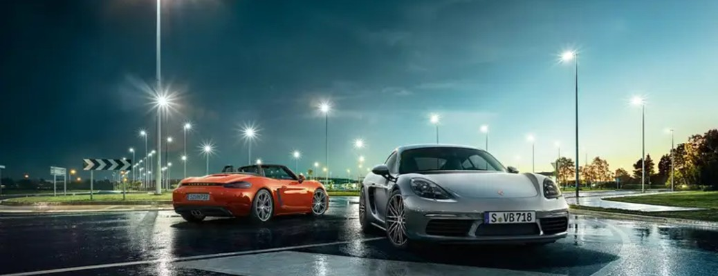 two Porsche 718 Cayman models next to each other