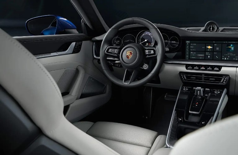 The front interior inside a 911 Targa 4S Heritage Design Edition.