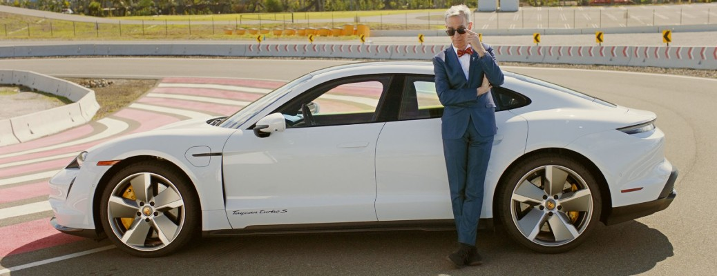 Bill Nye takes on Porsche and explains the all-electric Taycan
