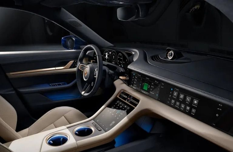 Front dash of the 2021 Porsche Taycan Cross Turismo