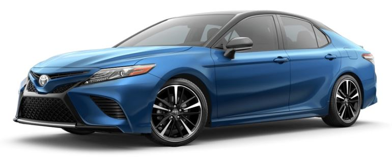 2019 Toyota Camry in Blue Streak Metallic with Midnight Black Metallic Roof and Rear Spoiler