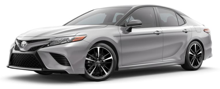 2019 Toyota Camry in Celestial Silver Metallic with Midnight Black Metallic Roof and Rear Spoiler