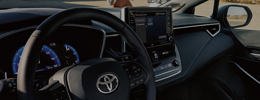 Interior view of Toyota model with Amazon Alexa on infotainment screen